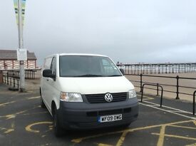 2009 VW Transporter van, 102 TDI, low mileage, Tow Bar, Ply lined, VAT free.