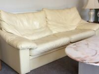 cream leather suite including 3 seater 2 seater chair and pouffe