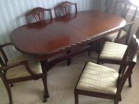 Mahogany table and 8 chairs
