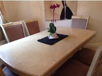 Dining room table with 6 chair and extension can seat up to 12. £300