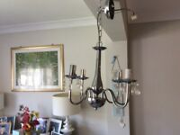 Chrome pendant light fitting x2
