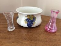 Port Merion China bowl and two cut glass vases