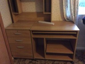 Computer desk and drawers with freestanding top