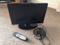 """Black 19"""" TV and built in DVD player"""