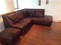 Italian leather corner sofa for sale.