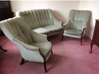 Compact 3 piece suite in green fabric