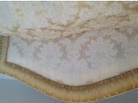Bedroom Curtains matching headboard/ bedspread/cushions / cream pale gold