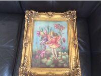 Ornate gold framed flower fairies porcelain picture