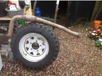 Tyre and cat exhaust for Landrover Defender