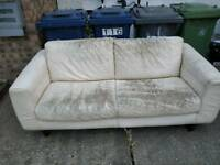 Worn cream leather sofa free - pick up only!