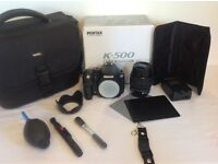 PENTAX K500 with 18-55mm lens, all items pictured included.