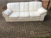 Large Cream 3 Seater Leather Sofa-PICKUP TODAY-open to offers