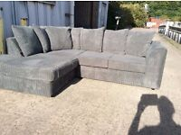 Grey Jumbo Cord Corner Sofa with Chaise Effect - New - £299 Inc. Free Local Delivery