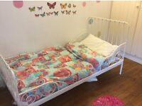 Kids Ikea MINNEN extendable bed & mattress - as new. Lovely bed, easy to assemble.