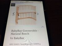 BabyBay Co-sleeping Cot (natural beech) with two mattresses and fitted sheets included