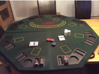 Folding Poker Table with Cards and Chips