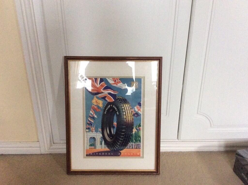 Old framed Dunlop tyre advert