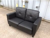 Cameron 2 Seater Black Faux Leather Sofa - Ex Display - £150 Including Free Local Delivery