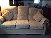 3 seater sofa settee, 2 armchairs, footstool