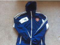 Adidas sports jacket with heart of Midlothian logo