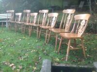 Eight farmhouse fiddleback chairs-can deliver