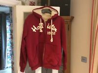 Red fleece lined hooded jacket
