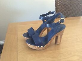 M&S Blue strappy style shoes size 6( never worn)