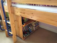 Fabulous cabin bed with bookcase and fold-out desk