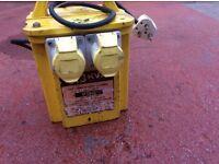 3.3 kVA Power tool 118 transformer. 2 x 16 A sockets. 240 v input . Waterproof