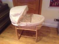 Mamas & papas Moses basket and rocking stand (including spare mattress and sheets)