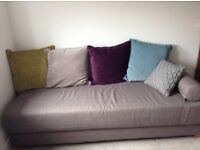 Double sofa bed in grey fabric