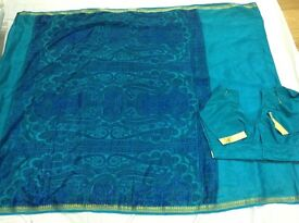 Different shades of blue Sari/Saree with blouse