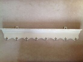 Beautiful Painted Antique French Coat Rack - Wall Hung