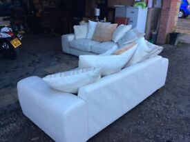 Leather cream suite 3 and 2 seater with scatter cushions cost 3k 15 nth old Read
