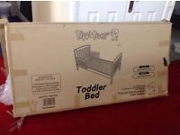 White Tippitoes Toddler Bed with Mattress and Mattress Protector