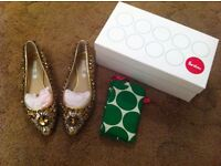 Brand new Boden gold leather jewelled shoes and clutch bag to match