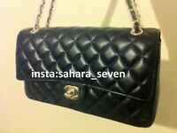 Ladies Bag Black £45 Quilt Flap Handbag Chanel Shopper