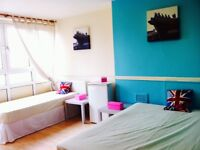 FANTASTIC HUGE DOUBLE/TWIN ROOM, 8 MNTS WALK BOW ROAD, 15 MNT TUBE OXFORD ST, MILE END, NIGHT TUBE,B