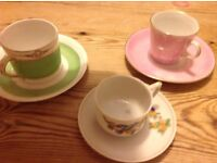 Decorative coffee cups and saucers