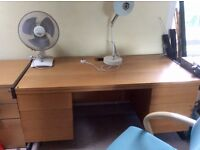 Excellent condition 2 office desks , 2 filing cabinets, 1 three drawer unit , 2 office chairs.
