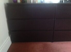 2 Kiera malm dark wood chest of drawers plus 2 faux leather bedside chests.