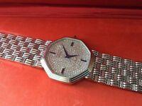 Diamond Royoma 18kt white gold gents watch,saffire crown winder,vs1 diamond face