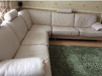 Natuzzi Italian cream leather corner suite