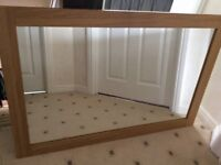 Large Mirror, oak colour frame suitable for lounge, dining room etc.
