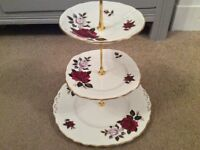 Colclough Bone China 3 Tier Cake Stand. Red Floral.