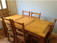V.good condition Oak dining table & six matching chairs