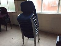 Ten Blue Seat & Grey Frame Stacking Chairs