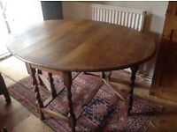 Antique Oak dining table and 4 chairs