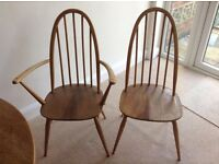 Ercol dining chairs x4