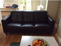 3 seater brown real leather sofa